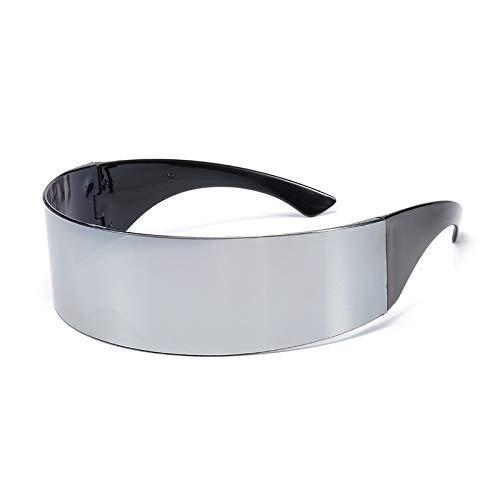 NNAA Gafas de personalidad curvadas divertidas y futuristas envueltas alrededor de las gafas de sol Monob Máscara Gafas novedosas Suministros de Halloween Decoración