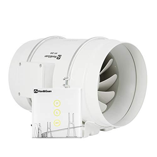 Hon&Guan 200mm Rohrventilator Rohrlüfter mit Wireless Controller - Mischdurchfluss Kanalventilator Silent für Badezimmer, Gewächshäuser, Hydroponik (200mm)