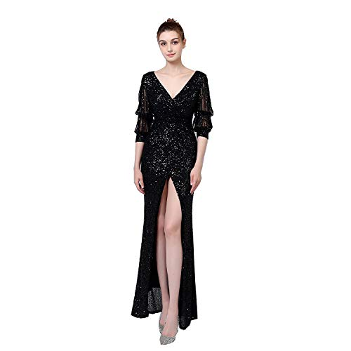 Heartgown Women's V Neck Mermaid Gown High Slit 3/4 Sleeves Prom Long Sequins Formal Evening Dresses Black (Apparel)