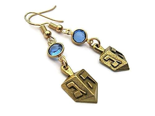 Gold Dreidel Birthstone Earrings, 24K Gold Plated Hanukkah Earrings, Personalized Spinning Top Charm, Jewish Jewelry