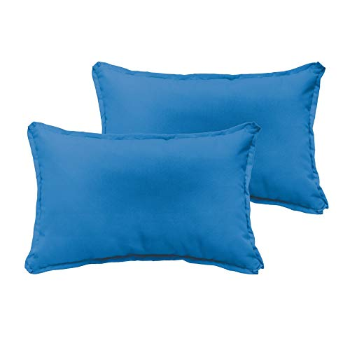 Unknown1 Light Blue 12 X 24-inch Indoor/Outdoor Flange Edge Pillow Set Solid Modern Contemporary Traditional Transitional Polyester Fade Resistant Uv Water