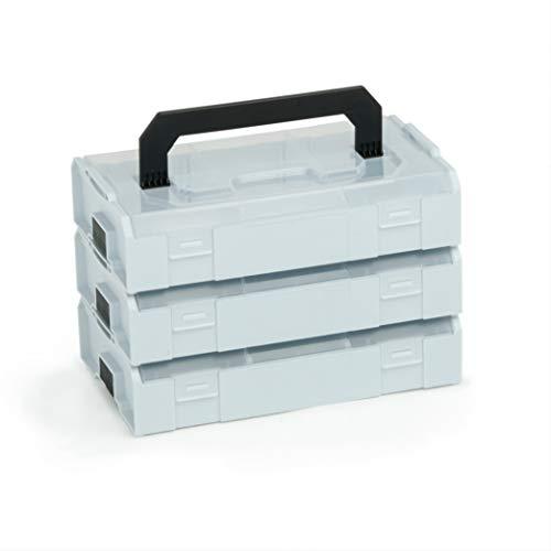 L-BOX Mini Set | 3x L BOXX Mini grau mit transparentem Deckel | Sortimentskasten Schrauben und Dübel | Erstklassige Sortierboxen für Kleinteile