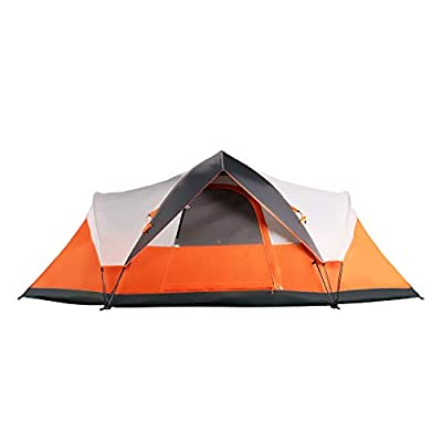 Mobihome 6 Person Tent Family Camping Quick Setup, Instant Extended Pop Up Dome Tents Outdoor, with Water-Resistant Rainfly and Mesh Roofs & Door & Windows - 13.5' x 7',Orange