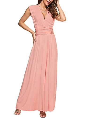 PERSUN Women's Convertible Multi Way Wrap Maxi Dress Long Party Grecian Dresses Pink