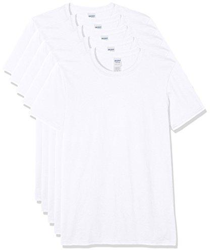 Gildan Herren 64000 T-Shirt, weiß, M (5er Pack)