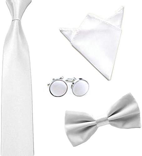 Men Solid Color Satin Bow Tie Necktie Handkerchief Pocket Square Cuff Link Set Color: White