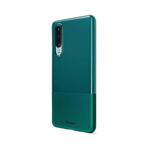 Artwizz NextSkin Case Designed für [Huawei P30] - Ultra-dünne, elastische Handyhülle mit 0,8 mm Dicke, 2/3 Transluzent, 1/3 Matt - Petrol