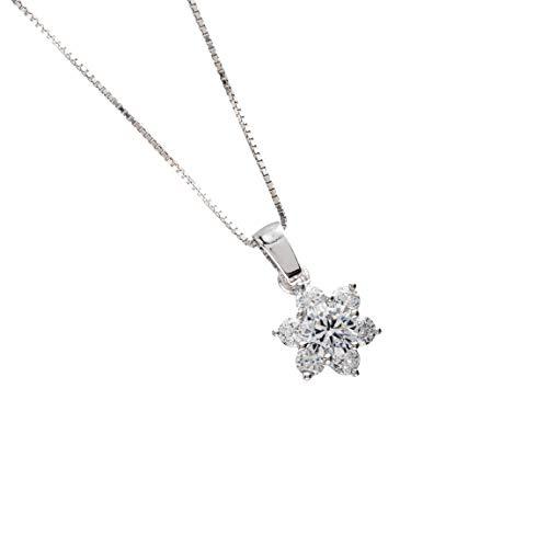 Bossoro Gioielli - Colgante de mujer en plata de ley 925/1000. Flor o colgante de estrella; regalo, compromiso, compra personal; con circonita blanca cúbica mm.2.75 y circonita blanca central mm.