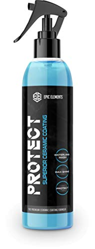 Epic Elements Protect Ceramic Coating Car Applicator for Cars - Top Coat Car Polish with Ultra SiO2 Coating - Hydrophobic Waterless Car Wash & Wax Spray for Paint Sealant Detail & Auto Protection Care