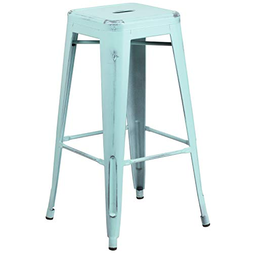 """Flash Furniture Commercial Grade 30"""" High Backless Distressed Green-Blue Metal Indoor-Outdoor Barstool"""