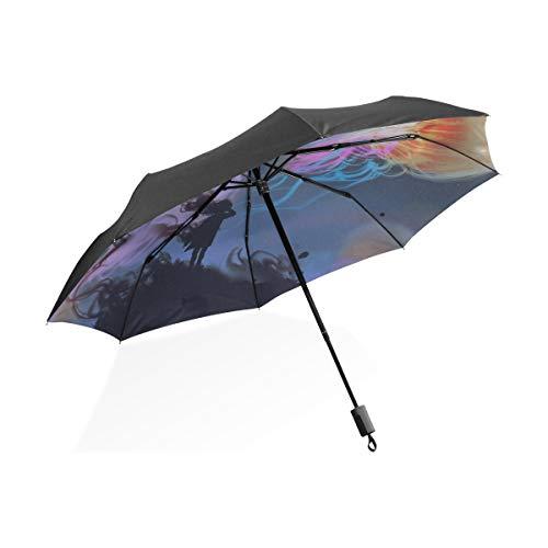 Enfants Parapluies pour La Pluie Aquarium De Méduses Poissons Algues Portable Compact Pliant Parapluie Anti UV Protection Coupe-Vent en Plein Air Voyage Femmes Enfant Fille Parapluie