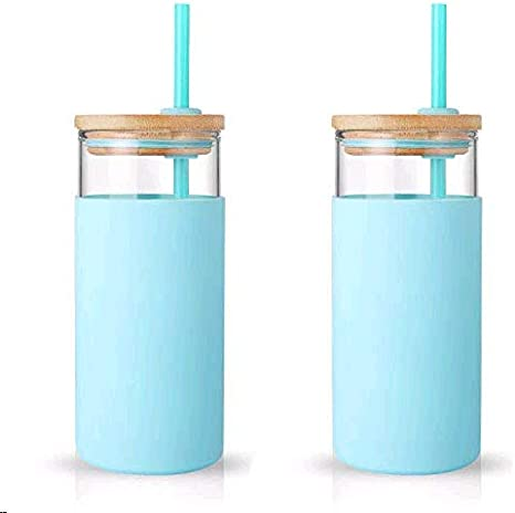 BPA Free Tronco 20oz Glass Tumbler Glass Water Bottle Straw Silicone Protective Sleeve Bamboo Lid