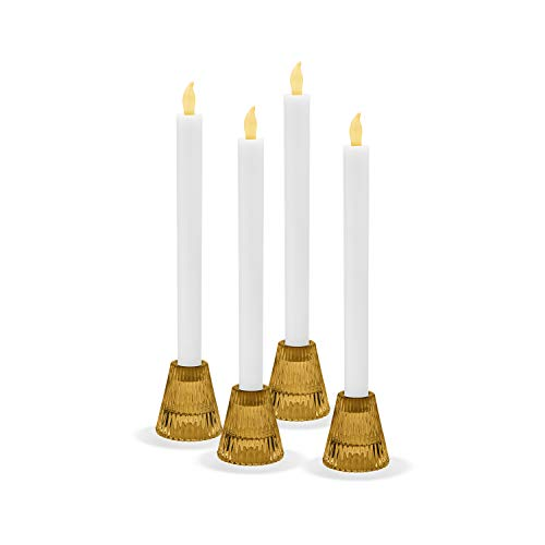 LampLust Glass Taper Tealight Holder Set - Amber Gold Glass, Reversible, Traditional Window Candles, 2.5