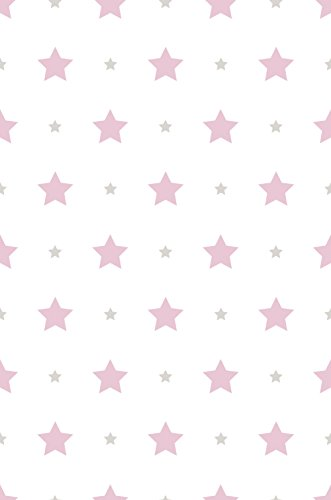 Dandino Papel Pintado Infantil de Estrellas, Rosa