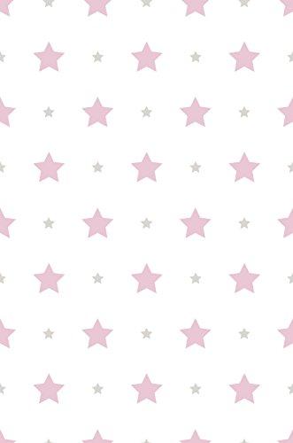 Rasch Textil Papiertapete Tapete - Kollektion Bimbaloo 2- 330136 Sterne Weiß Rosa