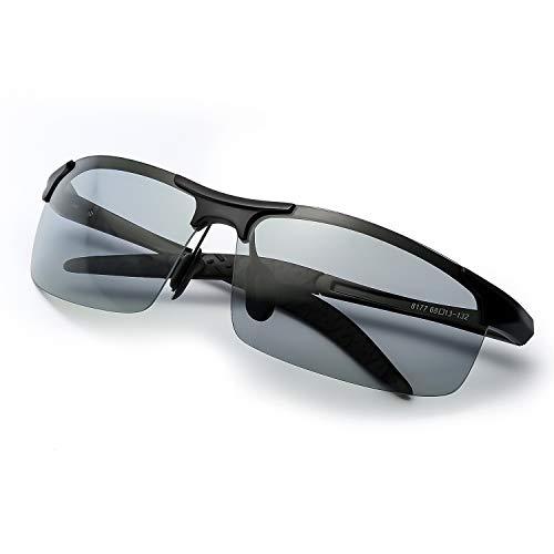 TJUTR Polarisierte Sonnenbrille Photochromatisch für Herren Sports 100% UV 400 Schutz Metallrahmen Leicht für Autofahren (Schwarz(sport)/Grau)