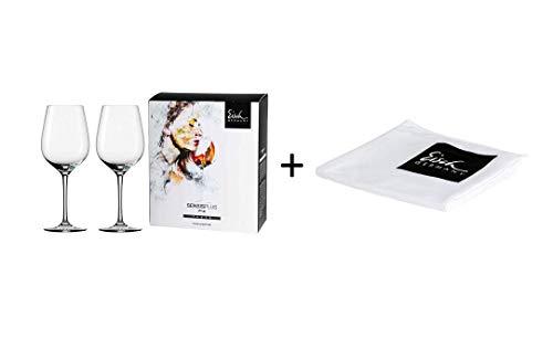 Eisch Superior Sensis Plus Rotwein 2er Set mit Glaspoliertuch, 2 Gläser im 4 farb. Geschenkkarton 25005020 500/2 + 30094202 942/2