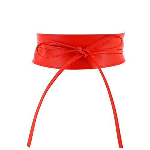 FASHIONGEN - Cintura donna Obi in Vera Pelle Pieno Fiore, Cintura larga donna per vestito, CASSIANE - Rosso, L-XL