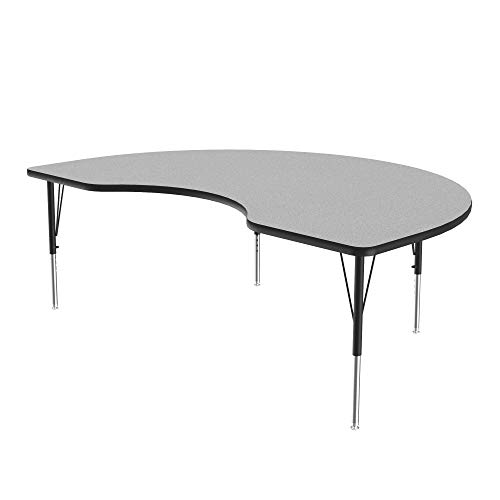 Correll High Pressure Activity Table, 48' x72' Kidney Gray Granite Top, Heavy Duty Height Adjustable Legs 21'-30', Made in The USA, 48' x 72'