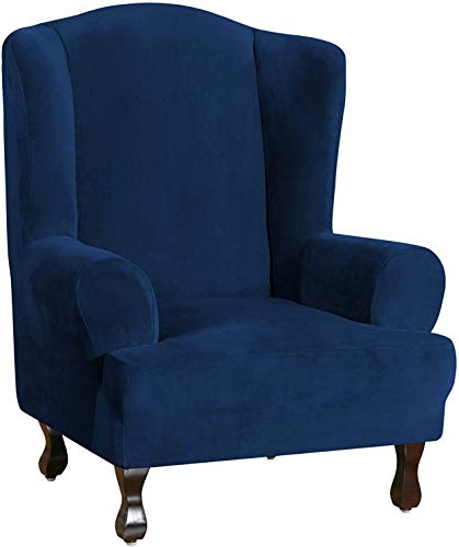 LINGKY Wing Chair Slipcover Velvet Slipcovers for Wingback Chairs Ultra Soft Plush Sofa Covers 1-Piece Furniture Cover/Wingback Chair Cover with Elastic Bottom, Machine Washable (Navy Blue)