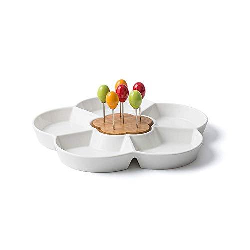 Aperitivo Bandeja for servir Disco Durable blanco bandeja de servicio de cerámica, caramelo y la tuerca que sirve recipiente, bandeja de ensalada con titular palillo de dientes de bambú, de cinco secc