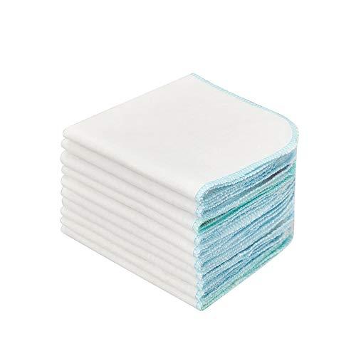 LANGING 15 Pièces Blancs Bleu Coton Molleton Flanelle Gant De Toilette