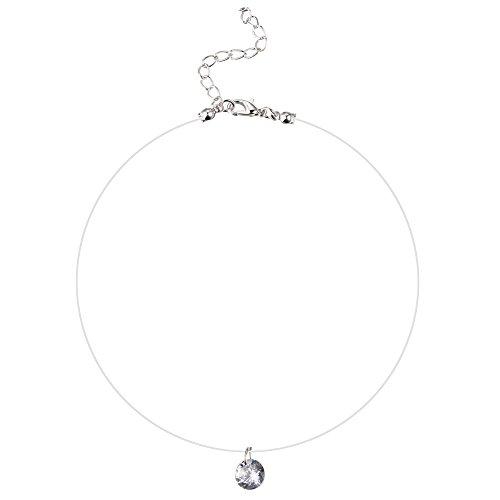 Kentop - Collar para mujer con colgante de cadena de nailon transparente con colgante de plata con circonitas