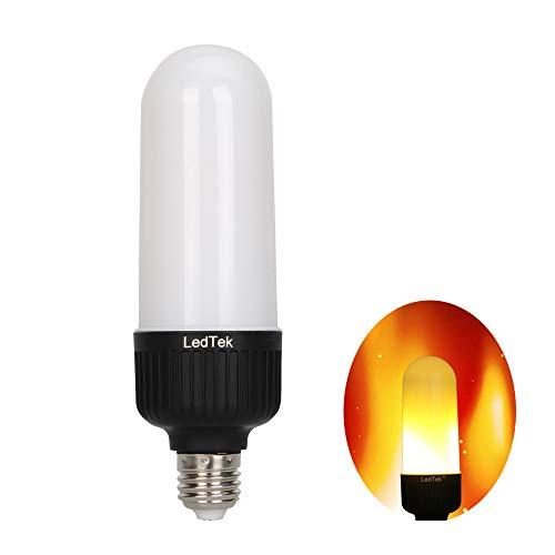 LedTek LED Flame Light Bulb Upward Downward Simulation Fire Flicker Effect Bulb E26 Flame Effect Light Bulb LED Torch Lamp Warm Atmosphere Lamp 90-240V 1800K Color Temperature