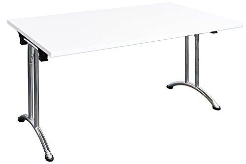 Dila GmbH Klapptisch stapelbar Melaminharzbeschichtete Tischplatte Konfernztisch Besprechungstisch Kantinentisch Verkaufstisch Schreibtisch Stahlgestell (140 x 80 cm, Weiß)