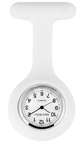 Alain Miller Reloj de enfermera analógico de cuarzo, metal y silicona, color blanco
