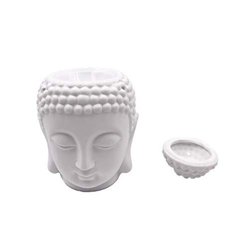 LOVELY Candelero Clásico Dispensador de Aceite Esencial de Aromatherapy del Quemador de Incienso de cerámica de la Cabeza de Buda Creativo (Color : White)