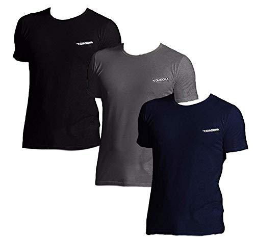 T-Shirt Uomo 3 Pezzi, Maglietta Intima Manica Corta Girocollo Cotone Diadora 900 (6°/XL, 1 Nero + 1 Blu + 1 Grigio Antracite)