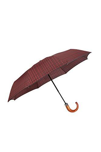 SAMSONITE Wood Classic S - 3 Section Auto Open Close Crook Folding Umbrella, 33 cm, Red (Bordeaux Scottish)