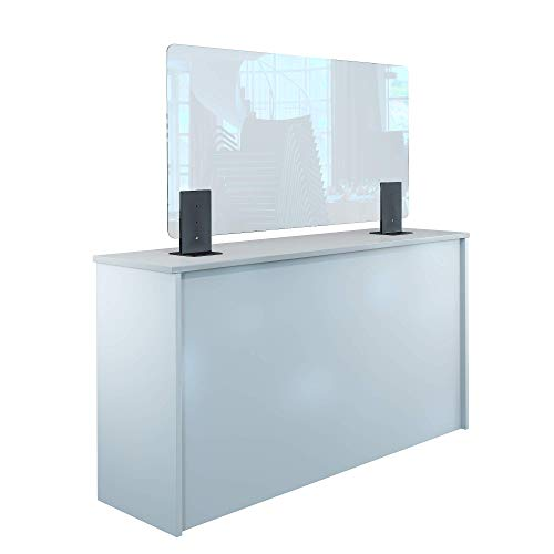 Rulopak Thekenaufsteller Trennwand/Spuckschutz Plexiglas klar mit Metallfüßen Anthrazit (Höhe justierbar) (B 120 x H 60 cm)