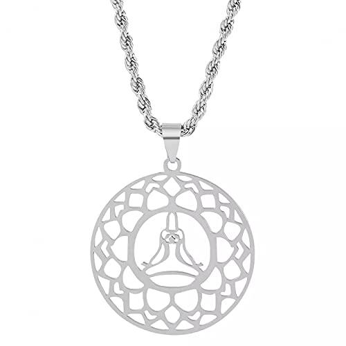 SOTUVO Collar de Acero Inoxidable Meditación Yoga Lotus Colgante Collar Ejercicio de Autocultivo para Mujeres Hombre Collar Largo Joyería Regalo Elegante
