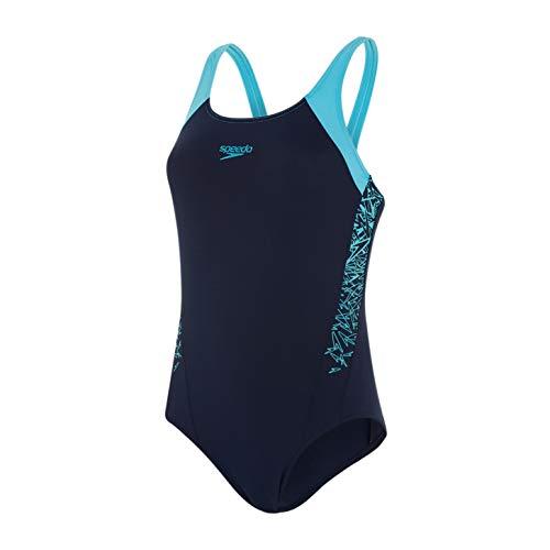 Speedo Damen Boom Splice Muscle Back Badeanzug, Navy/Aqua Splash, DE 38