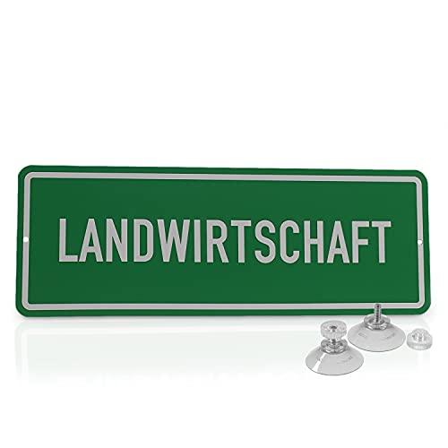 """Betriebsausstattung24® Hinweisschild """"Landwirtschaft""""   Hart-PVC mit 2 Saugnäpfen Größe (BxH): 29,7 x 10,5 cm   Auto Schild   Autoschild   Hinweisschild Kraftfahrzeuge   KFZ"""
