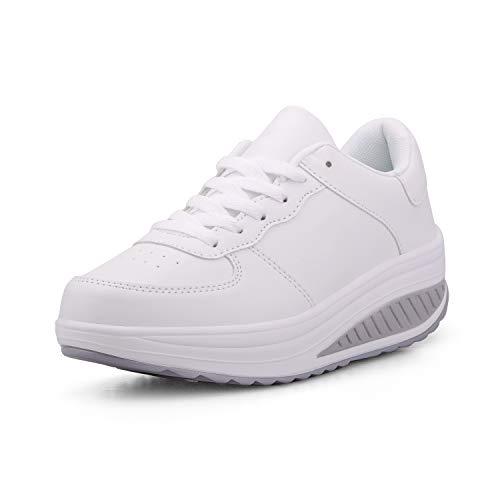 Mujer Adelgazar Zapatos Sneakers para Caminar Zapatillas Aptitud Cuña Plataforma Zapatos(37,Blanco