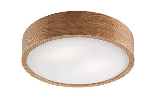 Deckenleuchte Holz Glas rund blendarm Modern E27 Wohnzimmerlampe Flurbeleuchtung Deckenlampe