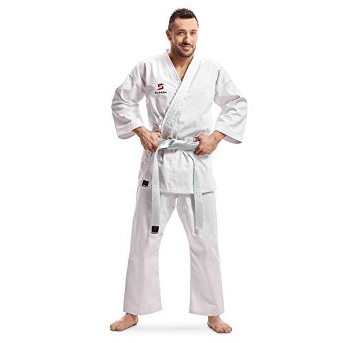 Supera Karate Anzug Herren und Damen - Kampfsportanzug 3 teilig mit Kampfsport Hose, Jacke und Karate Gürtel - weiß - Karate Gi weiß Unisex.