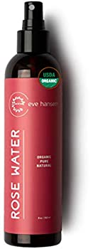 Eve Hansen Organic Rose Water Spray for Face   Huge 8 oz Moroccan Rosewater Face Toner and Makeup Setting Spray   Soothing Neck and Face Mist to Reduce Eye Puffiness Dark Circles and Redness