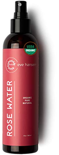 Eve Hansen Organic Rose Water Spray for Face | Huge 8 oz Moroccan Rosewater Face Toner and Makeup Setting Spray | Soothing Neck and Face Mist to Reduce Eye Puffiness, Dark Circles and Redness