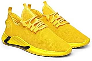 KT Traders Solid Reguler Mesh Lace-Up On Style for Easy Sport Shoes (KT Traders-39-Yellow-10)
