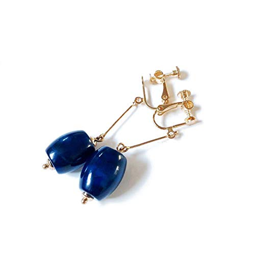 YTGUEVKDH Pendientes delicados del Clip de Oreja de Piedra de ágata Azul Natural Retro sin Perforado también Puede Usar Accesorios de joyería
