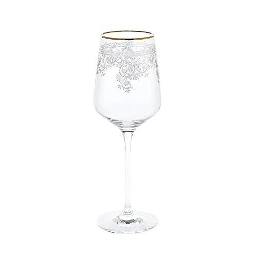 CRISTALICA Weinglas Weinkelch Charisma Flora Rotwein Weißwein 450 ml klar Panto Goldrand