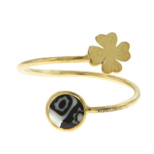 Córdoba Jewels | Anillo en Plata de ley 925 bañada en oro con diseño Cuatrebol Dolce Murano Onix Gold