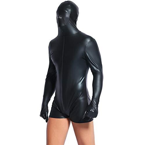 WYYSYNXB Hombres Sexy Charol Todo Incluido Prisionero Traje De Gato Wetlook Pantalones Cortos Discoteca Bar DS Cosplay Apretado Traje Mostrar Disfraces Negro M-2XL Patio,Negro,M