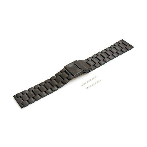 SYSTEM-S Sistema de S Acero Inoxidable Pulsera Intercambio Wrist Band 17,5cm de Repuesto para LG G Watch W100g r W110W150Urbane, Negro