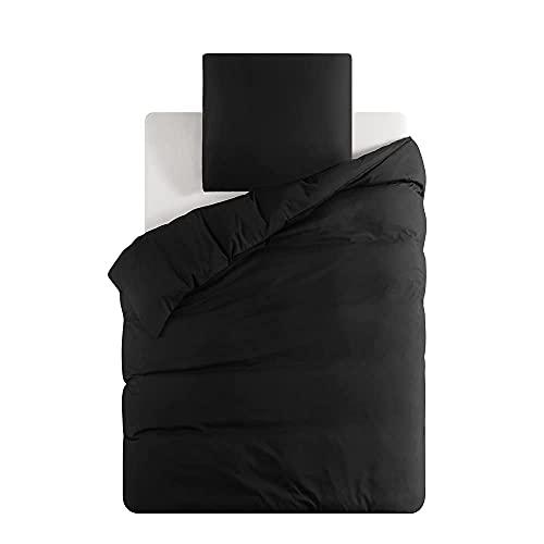 Ropa de cama de 135 x 200 cm, 2 piezas, color negro, 1 funda nórdica de 135 x 200 cm con cremallera YKK + 1 funda de almohada de 80 x 80 cm, para cama individual y no necesita planchado.