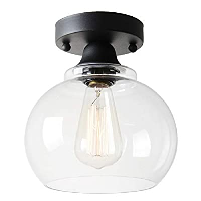 VILUXY Semi Flush Mount Ceiling Light, Industrial Clear Glass Shade Light Fixtures Ceiling for Hallway, Schoolhouse, Entryway, Kitchen, Dining Room, Laundry Room